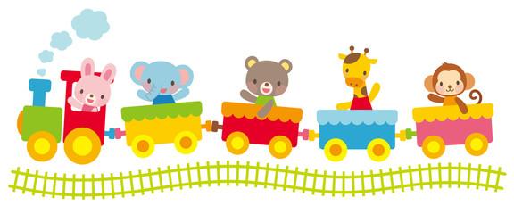 子供向け素材 汽車にのる動物たち