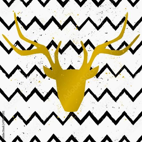 Golden Deer Head on Chevron Background
