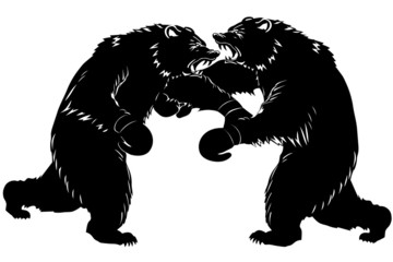 Two bear fight. Silhouette Boxer. Vector illustration