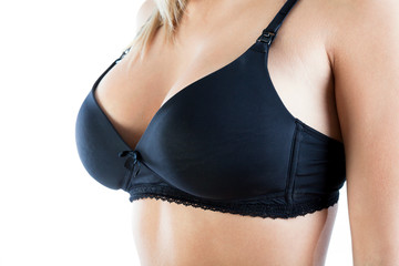 Beauty breasts in black brassiere