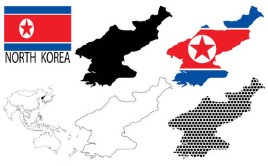 North Korea - Contour maps, National flag and Asia map vector
