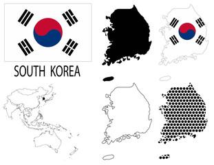 South Korea - Contour maps, National flag and Asia map vector