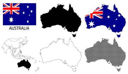 Australia - Contour maps, National flag and Asia map vector
