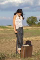 girl with valise