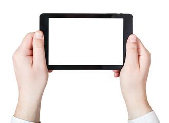 businessman hands holds tablet-pc