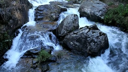 Water flowing over the rocks,