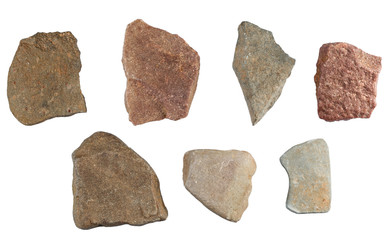 Set of stones isolated on white background. Natural minerals min