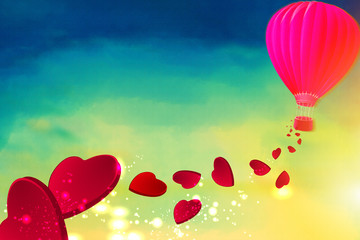 Hot air balloon with red hearts flying from