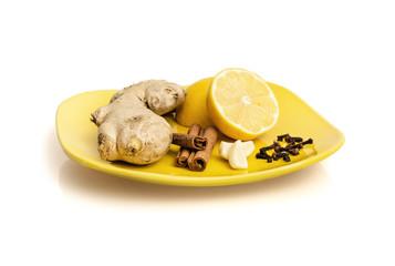 Ginger, cinnamon, lemon, garlic and cloves