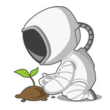 Astronaut and plant