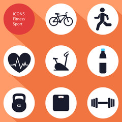 Icons, sports, fitness, flat design, vector