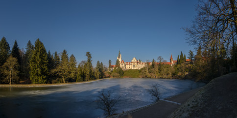 Prague, Chateau Pruhonice with pond panoramic winter view