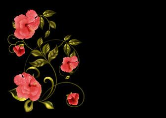 узор из цветов гибмскуса