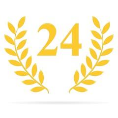 Lauriers 24 gold sur fond blanc