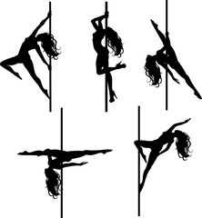 Five Pole dancers silhouettes