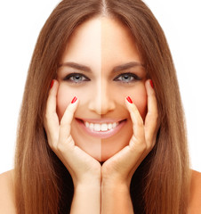 Beauty visual about suntan. Model's face divided in two parts -