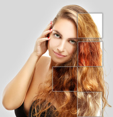 Concept Coloring Hair.Natural colored hair.Gray background