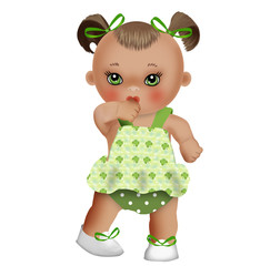куколка малышка в зеленом сарафане
