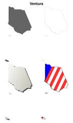 Ventura County (California) outline map set