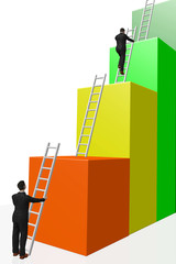 Man on the success ladder
