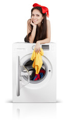 Cute Girl on a Washing Machine Filled with Laundry