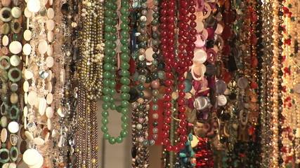 Beads hanging in a shop in Hong Kong