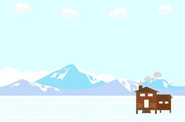 山小屋 雪山
