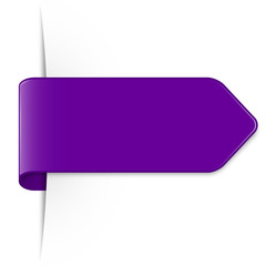 Long purple arrow sticker with shadow and space for text