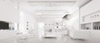 Interior of modern white apartment panorama