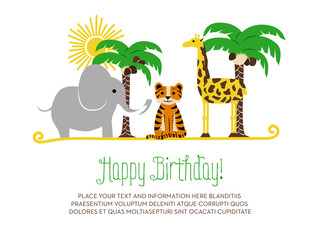 Children's birthday card with animals. Vector design.