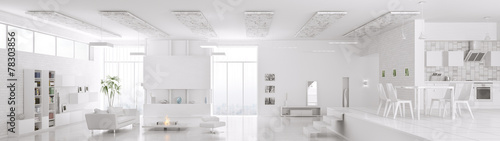 Leinwanddruck Bild Interior of modern white apartment panorama 3d render