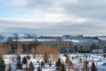 Вид на парк имени Ленина в городе Бузулуке. Зима