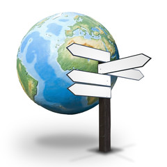 Guidepost and the Earth globe