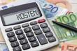 Leinwanddruck Bild - Taschenrechner mit Geldscheinen - Kosten