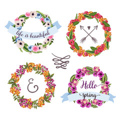 Set of 4 hand-drawn vintage flower wreath