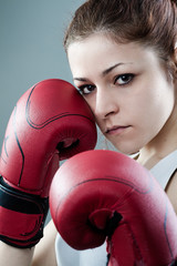 Confident Boxing Woman in Guard Position