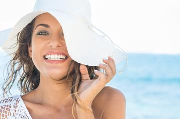 Happy girl at beach