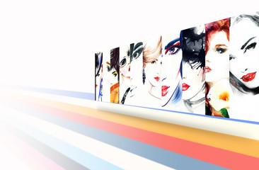 Collage Fashion Illustrations.woman portrait .ashion background