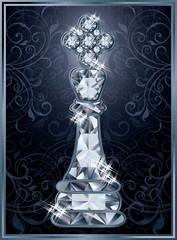 Diamond chess King card, vector illustration