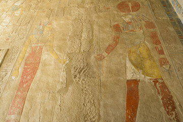 Painting at the temple of Hatshepsut, Luxor (Egypt)