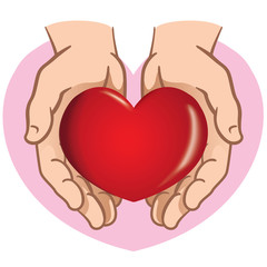 Character pair of hands holding a heart