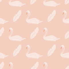 Gentle seamless pattern whith swans