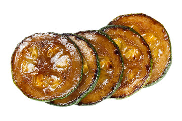Fried zucchini. Isolated vegetables.
