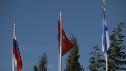 Flags of Russia and Crimea. Andreevsky flag