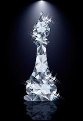 Diamond chess Bishop, vector illustration
