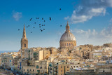 Valetta city buildings with birds flying - 78308013