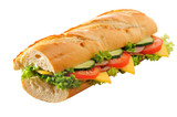 Ham and cheese submarine sandwich isolated