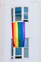 Rainbow flag gay on a building facade