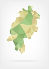 Low Poly map of german region Hessen