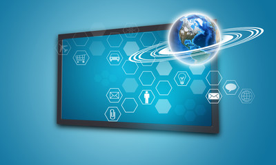 Touchscreen display with Globe and hexagons, on blue background